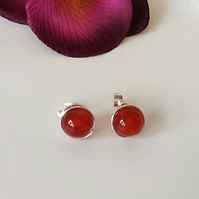 Handmade Carnelian Gemstone Silver Plated Ear Studs by Cool Creations
