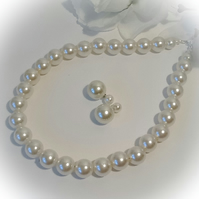 Bridal Ivory Pearl Necklace with Double Sided Pearl Earrings by Cool Creations