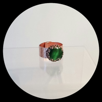 Handmade Hammered Copper Green Gemstone Adjustable Chunky Ring