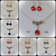 Twelve Colours Silver Plated Necklace & Earrings Set by Cool Creations
