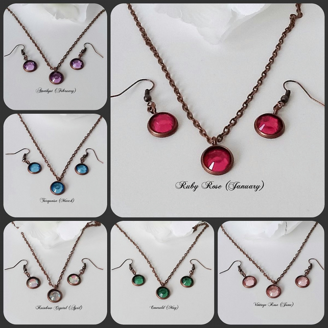 Twelve Colours Copper Necklace & Earrings Set by Cool Creations