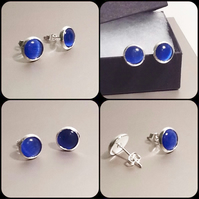 Sapphire Blue Cats Eye Silver Plated Ear Studs by Cool Creations