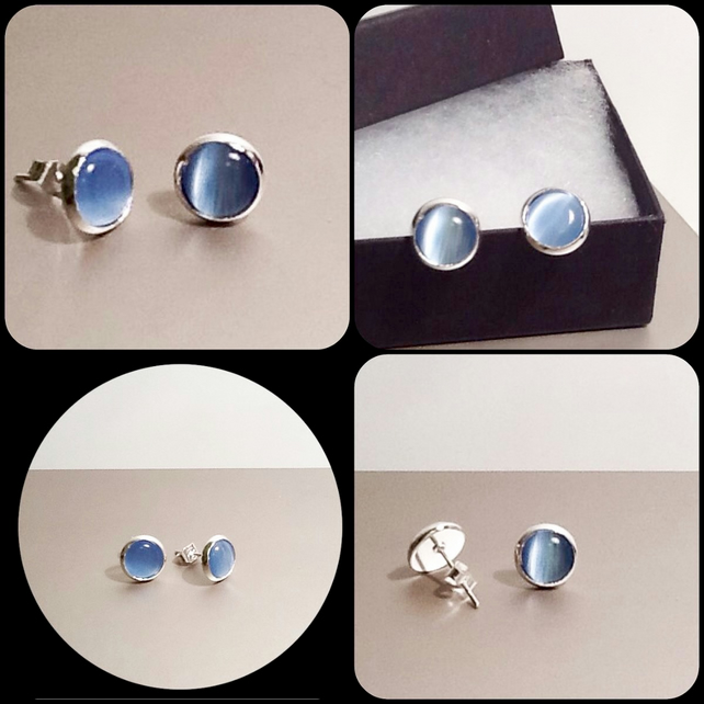 Denim Blue Cats Eye Silver Plated Ear Studs by Cool Creations
