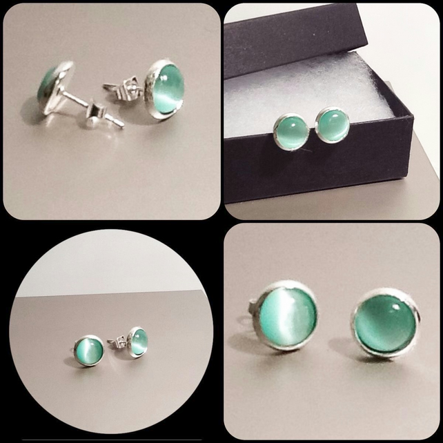 Mint Green Cats Eye Silver Plated Ear Studs by Cool Creations