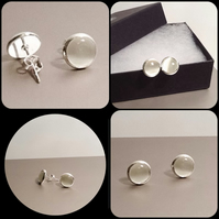 Milky White Cats Eye Silver Plated Ear Studs by Cool Creations
