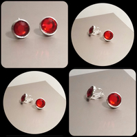 Clip On Silver Plated Earrings with Red Rhinestones by Cool Creations