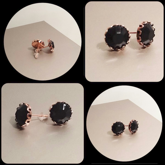 Black Rose Gold Plated Ear Studs by Cool Creations