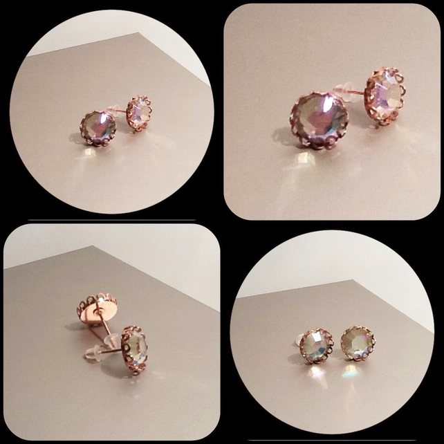 Rose Gold Plated Fancy Ear Studs with Clear AB Rhinestones