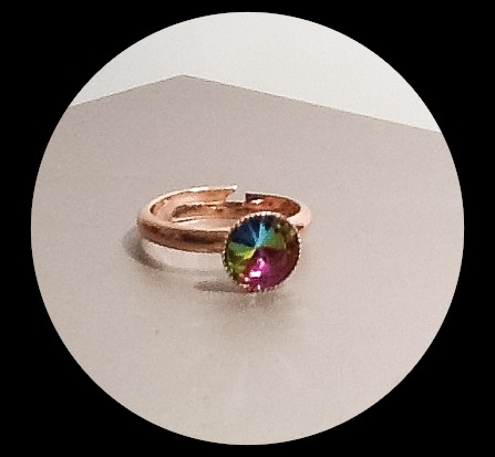 Rainbow Crystal Adjustable Rose Gold Plated Ring by Cool Creations