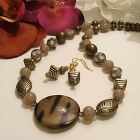 Handmade Sage Green & Antique Gold Necklace & Earrings Set by Cool Creations