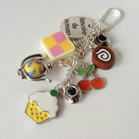 'Remember the Moments' Tea for Two Themed Handbag Charm or Car Dangle.
