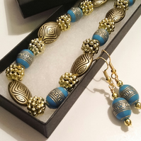 Handmade Turquoise & Gold Necklace with Matching Earrings by Cool Creations