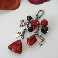 Black & Red Goth Inspired Bag Charm by Cool Creations - G1