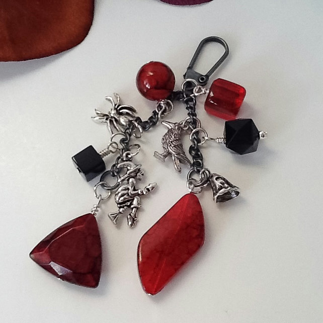 Black & Red Goth Inspired Handbag Charm by Cool Creations - G2