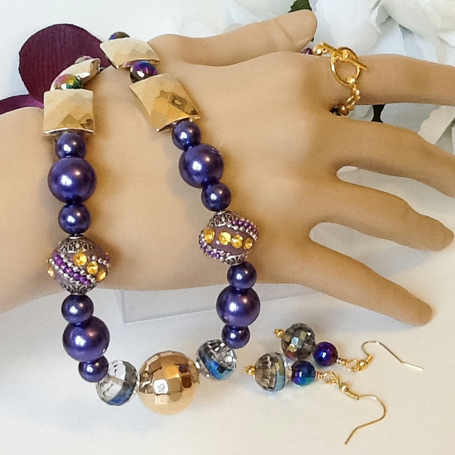 Royal Purple & Gold Necklace with Matching Earrings by Cool Creations