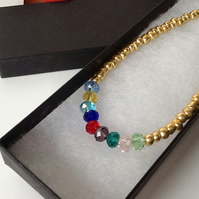 Go with Everything Crystal & Gold Handmade Necklace with Toggle Clasp
