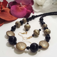 Black & Antique Gold Necklace with Matching Earrings Handmade by Cool Creations
