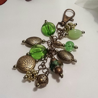 Green & Antique Gold Bag Charm or Car Accessory Handmade by Cool Creations