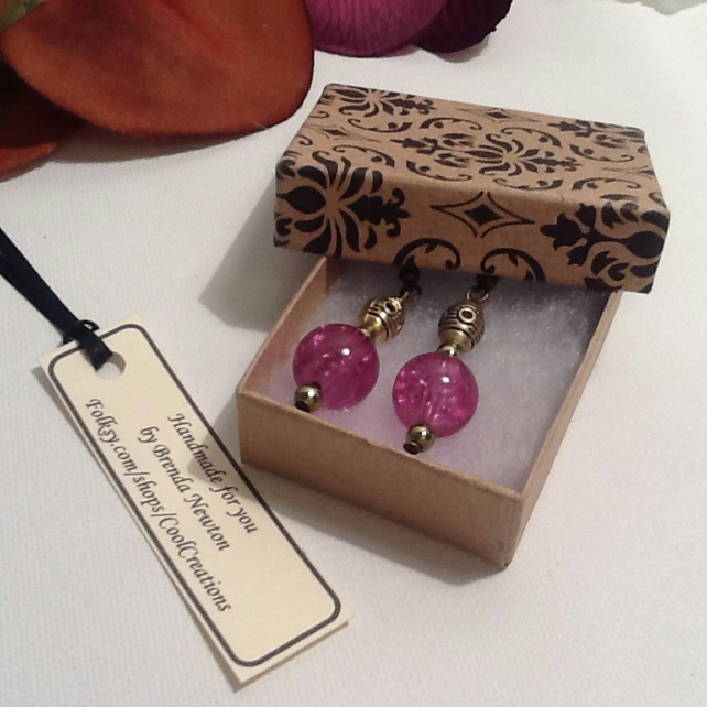 Pink & Antique Gold Earrings Handmade by Cool Creations