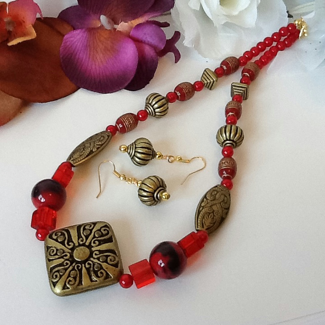 Red & Antique Gold Necklace with Matching Earrings & Toggle Clasp