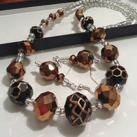 Black & Bronze Necklace Set with Magnetic Clasp Handmade by Cool Creations