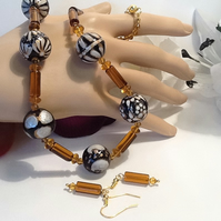 Indian Glass Necklace Set in Amber Bronze & Gold with Magnetic Clasp