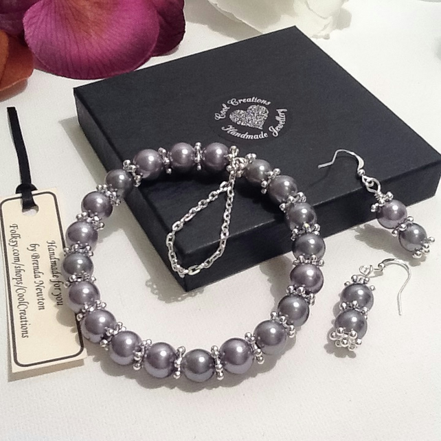 Silver Grey Pearl & Snowflake Bracelet with Matching Earrings by Cool Creations