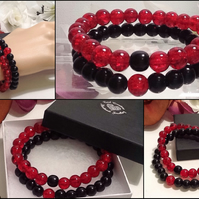 Couples or Stacking Bracelets in Black & Red by Cool Creations