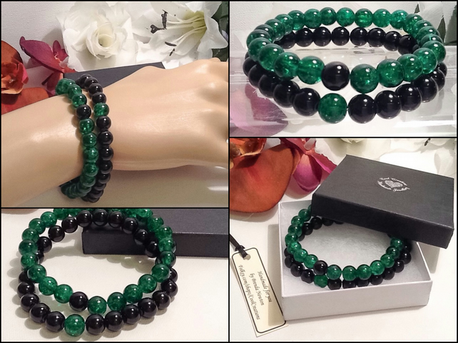 Pair of Friendship or Stacking Bracelets in Green & Black by Cool Creations