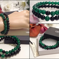 Couples or Stacking Bracelets in Green & Black by Cool Creations