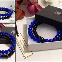 Couples or Stacking Bracelets in Blue & Black by Cool Creations