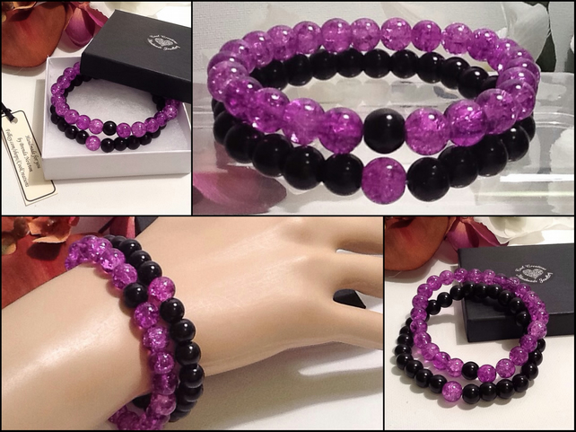 Pair of Friendship or Stacking Bracelets in Purple & Black by Cool Creations