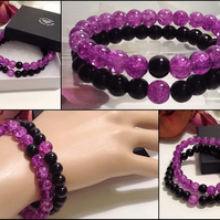 Couples or Stacking Bracelets in Purple & Black by Cool Creations