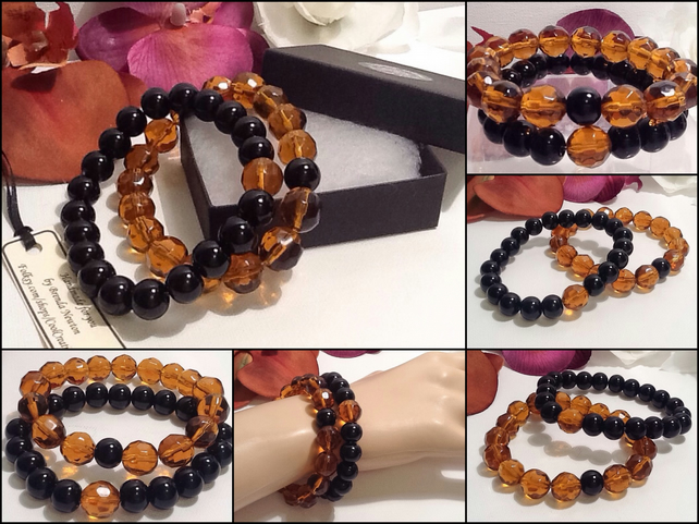 Pair of Friendship or Stacking Bracelets in Amber & Black