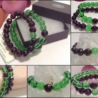 Pair of Friendship Or Stacking Bracelets in Green & Aubergine