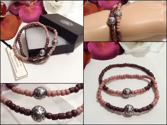 Pair of Friendship or Stacking Bracelets in Pink Earth Tones