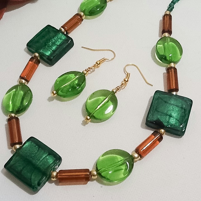 Green & Amber Necklace with Matching Earrings Handmade by Cool Creations