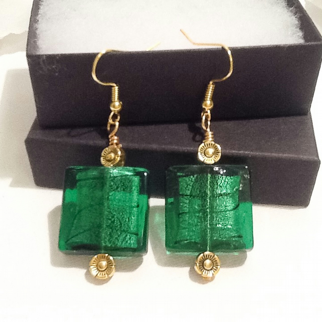 Emerald Green & Antique Gold Chunky Handmade Earrings by Cool Creations