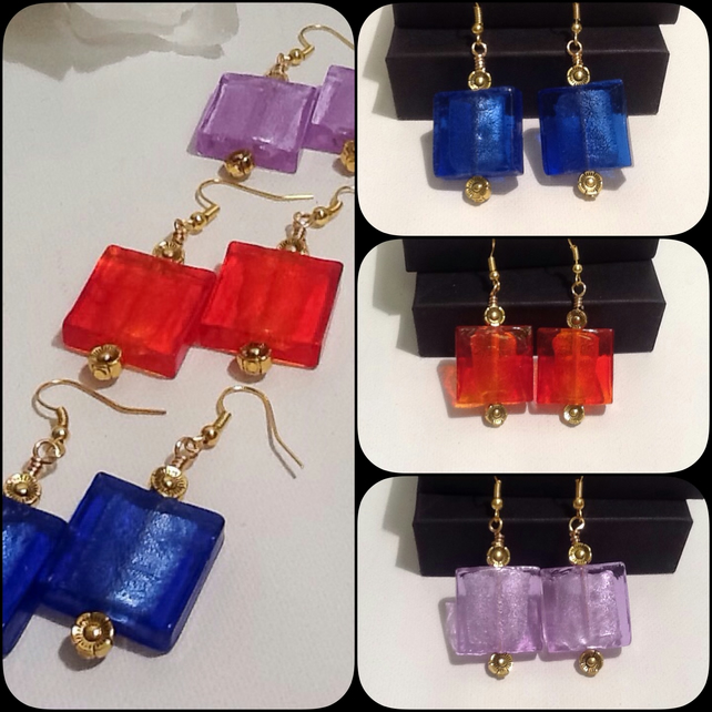 Three Colours Czech Glass Earrings with Antique Gold Flowers by Cool Creations