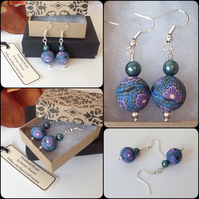 Teal & Purple Handmade Floral Earrings By Cool Creations