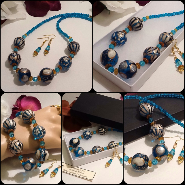 Turquoise & Gold Necklace with Matching Earrings and Magnetic Clasp