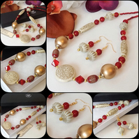 Red & Gold Necklace with Matching Earrings and Magnetic Clasp