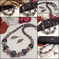 Chunky Charcoal & Silver Necklace with Matching Earrings by Cool Creations