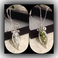 Silver Plated Pea Pod Pendant Necklace by Cool Creations