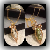 Golden Pea Pod Pendant Necklace By Cool Creations