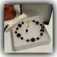 Black & Gold Adjustable Crystal Bracelet by Cool Creations