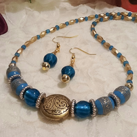 Turquoise & Gold Lightweight Necklace with Matching Earrings by Cool Creations