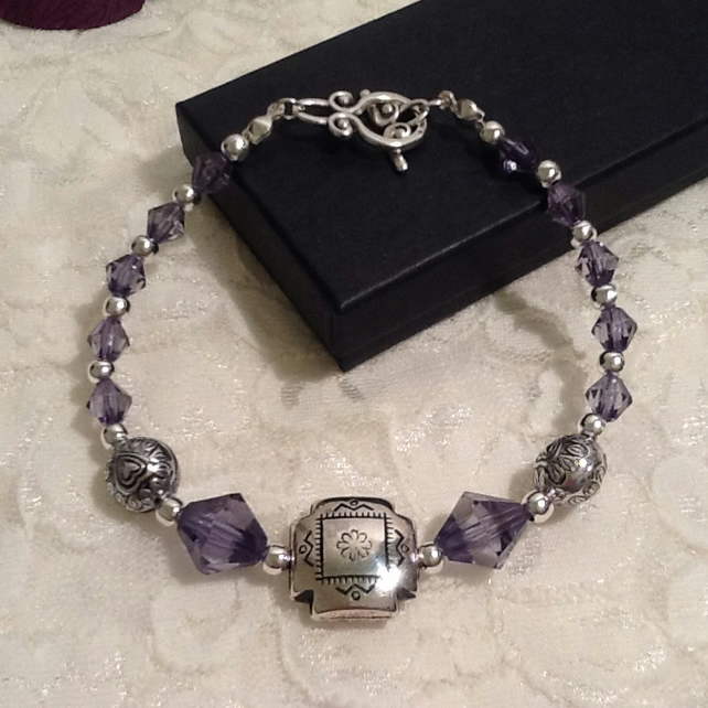 Slate Blue & Silver Bracelet by Cool Creations