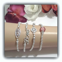 Silver Plated Stretchy Bracelets in a Choice of Four Designs by Cool Creations