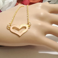 Blush Pink Gold Plated Enamelled Valentine Heart Necklace by Cool Creations